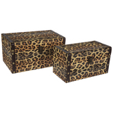 Leopard Print Wood Trunk Box Set