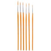 Gold Nylon Paint Brushes - 6 Piece Set