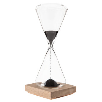 Hourglass With Magnetic Wood Base
