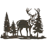Brown Deer & Trees Metal Wall Decor