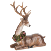 Carved Deer With Wreath