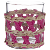 Pink Reed-Wrapped Stemless Glasses
