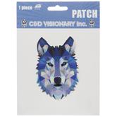 Geometric Wolf Head Iron-On Applique