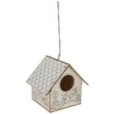 Spring Icons Line Art Wood Birdhouse