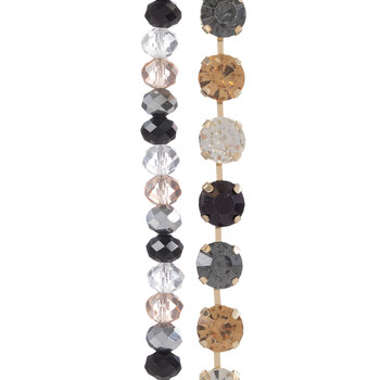 Cup Chain & Gem-Cut Glass Bead Strands