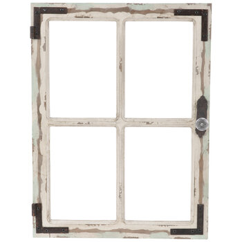Antique White Window Wood Wall Decor