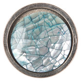Silver Crackle Round Metal Knob
