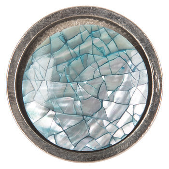Silver Crackle Round Metal Knob