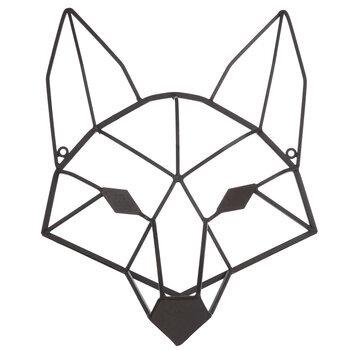 Brown Geometric Fox Head Metal Wall Decor