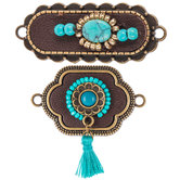 Leather & Turquoise Stone Connectors