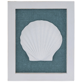 Blue & White Shell Wood Wall Decor