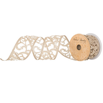 Glitter Swirl Cutout Wired Edge Ribbon - 2 1/2""