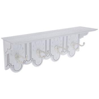 White Wood Wall Shelf With Hooks