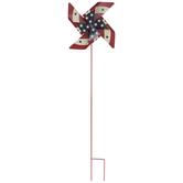 Red Flag Pinwheel Metal Garden Stake