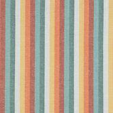 Blue, Orange & White Striped Linen Fabric
