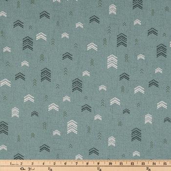 Green Textured Chevrons Apparel Fabric