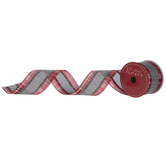 """Red Plaid With Gray Stripe Ribbon - 2 1/2"""""""