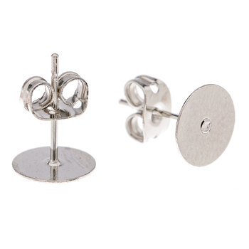 Flat Pad Earring Posts With Clutch - 8mm