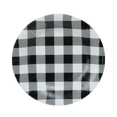 Black & White Buffalo Check Paper Plates - Small