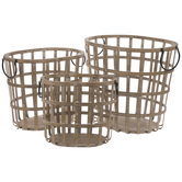 Brown Wood Basket Set