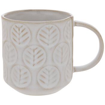 White Embossed Leaves Mug - Small