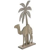 Camel & Palm Tree Nativity Wood Decor