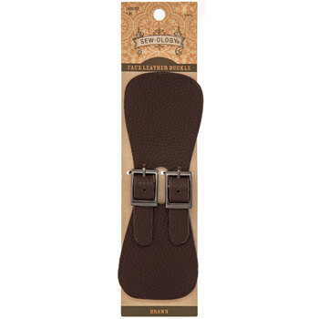 Brown Faux Leather Wide Strap With Buckles