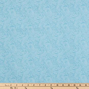 Light Blue Paisley Cotton Calico Fabric