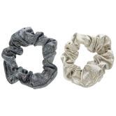 Metallic Gray & Black Scrunchies