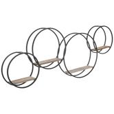 Black & Brown Intersecting Circles Metal Shelf