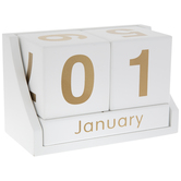 White & Gold Wood Block Calendar Decor