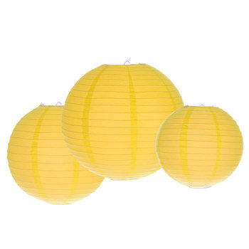 Round Yellow Paper Lanterns