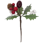 Holly Berries & Pinecone Pick