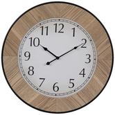 Framed Round Wood Wall Clock