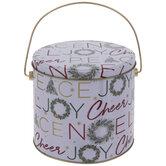 White Joy Wreath Tin Bucket