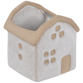 White & Tan House Flower Pot