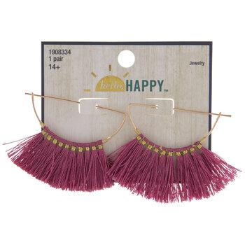Pink Tassel Half Circle Earrings