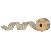 "Metallic Gold Striped Mesh Wired Edge Ribbon - 1 1/2"""