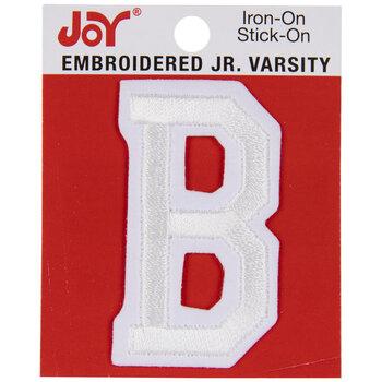 """White Junior Varsity Letter Iron-On Applique B - 2"""""""