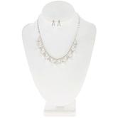 Rhinestone & Pearl Necklace & Earrings