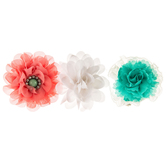Turquoise & Pink Lace & Sheer Flower Clips