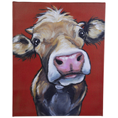 Cow On Red Canvas Wall Decor
