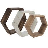 Nesting Hexagons Wood Wall Shelf Set