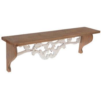 White Flourish Cutout Wood Wall Shelf