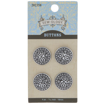 Pewter Paisley Round Shank Buttons - 18mm