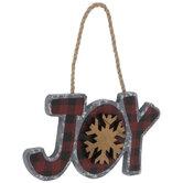 Joy Buffalo Check Ornament