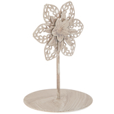 White Flower Metal Photo Clip