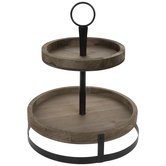 Rustic Two-Tiered Wood Tray
