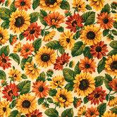 Sunflower Cotton Calico Fabric