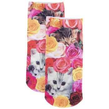 Kittens & Roses Ankle Socks